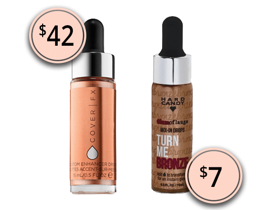 Makeup Dupes 2017: Cover FX Custom Enhancer Drops & Hard Candy Glamoflauge Liquid Radiant Mix-In Drops