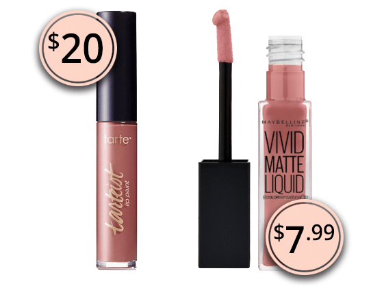 Makeup Dupes 2017: Tarte Tarteist Creamy Matte Lip Paint & Maybelline Vivid Matte Liquid Lip Color