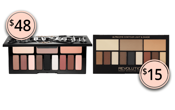 Makeup Dupes 2017: Kat Von D Shade + Light Eye Contour Palette & Makeup Revolution Ultra Eye Contour Light & Shade Palette