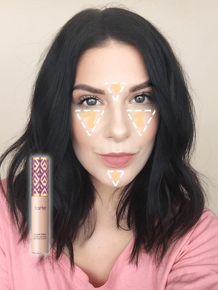 Get the Look | Monochromatic Makeup: Tarte Shape Tape Concealer Application Chart!