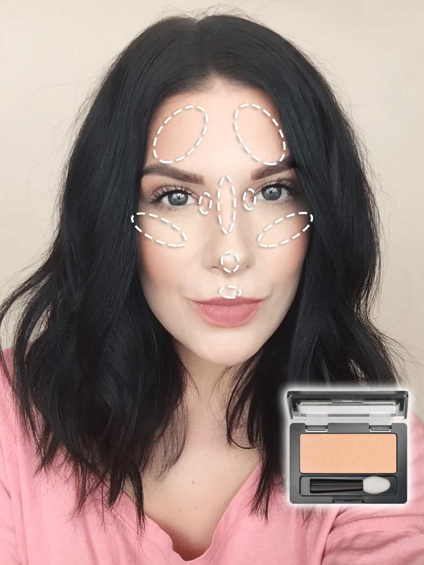 Get the Look | Monochromatic Makeup: Where to apply highlighter!