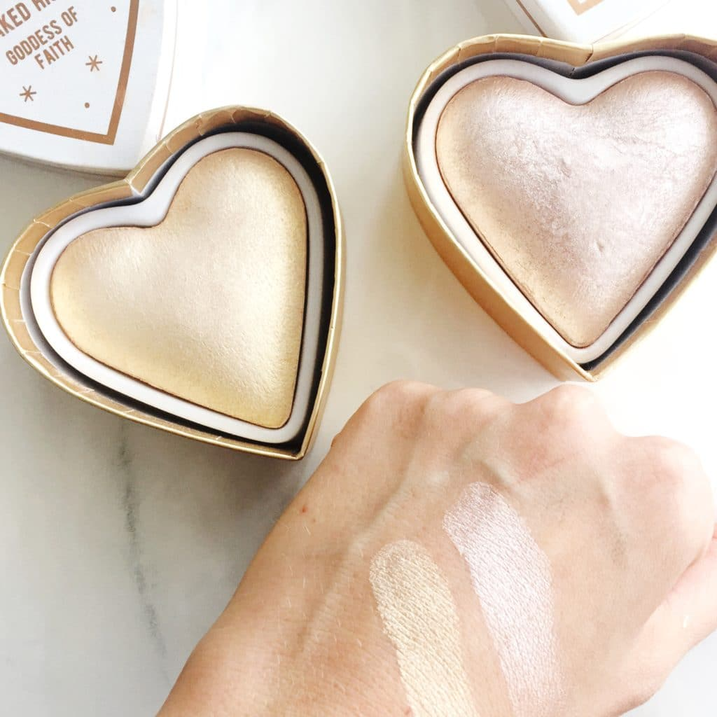Makeup Revolution Blushing Hearts Highlighters Review Swatches